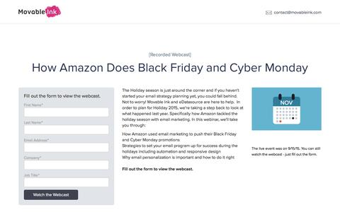 Screenshot of Landing Page movableink.com - Amazon's Black Friday & Cyber Monday Email | Movable Ink - captured May 11, 2017