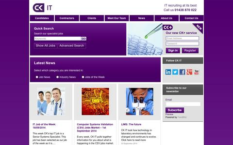 Screenshot of Press Page ck-it.co.uk - IT Job of the Week: 18/09/2014 | CK IT - captured Sept. 26, 2014