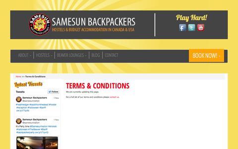 Screenshot of Terms Page samesun.com - Backpacker Hotels | Vancouver | Banff | Kelowna | Temrs & Conditions - captured Nov. 2, 2014