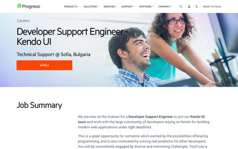 Screenshot of Jobs Page progress.com - Developer Support Engineer - Kendo UI, Technical Support @ Sofia, Bulgaria - Progress Careers - captured July 17, 2019