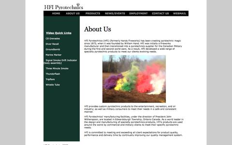 Screenshot of About Page hfipyrotechnics.com - HFI Pyrotechnics - captured July 9, 2016