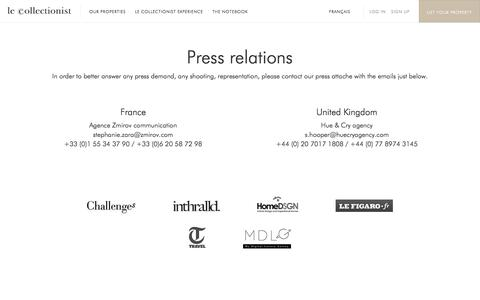 Screenshot of Press Page lecollectionist.com - Le Collectionist - captured July 12, 2016