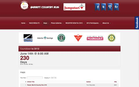 Screenshot of Maps & Directions Page merrittcountryrun.ca - maps - captured Oct. 27, 2014