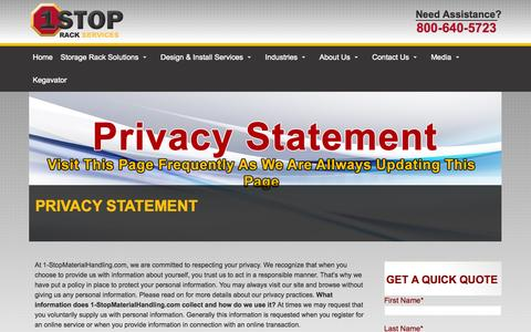 Screenshot of Privacy Page bostonrack.com - Privacy Statement - 1stoprackservices - captured Sept. 30, 2014