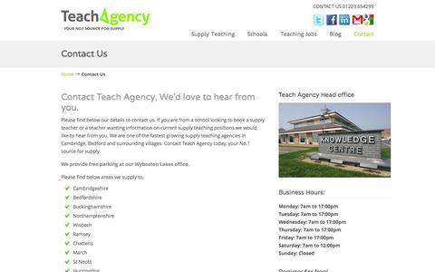 Screenshot of Contact Page teachagency.co.uk - Contact Teach Agency - Supply Teaching Jobs - captured Oct. 26, 2014