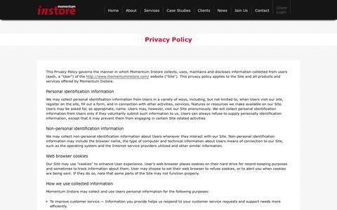 Screenshot of Privacy Page momentuminstore.com - Momentum Instore - captured Oct. 7, 2014