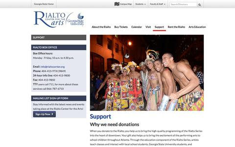 Screenshot of Support Page gsu.edu - Support - Rialto Center for the Arts - captured Sept. 17, 2014