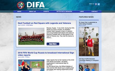 Screenshot of Press Page difa-org.com - difa-world | NEWS - captured Oct. 8, 2018