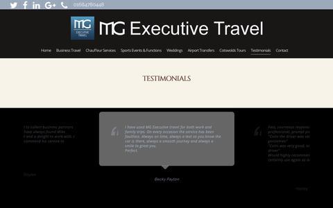 Screenshot of Testimonials Page mgexecutivetravel.co.uk - Customer Testimonials - MG Executive Travel Ltd - Gloucester Cheltenham - captured Dec. 8, 2018