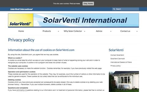 Screenshot of Privacy Page solarventi.com - Information about the use of 'cookies' and informations on this web site - captured Oct. 22, 2017
