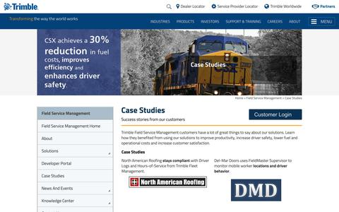 Screenshot of Case Studies Page trimble.com - Case Studies - captured Feb. 4, 2018