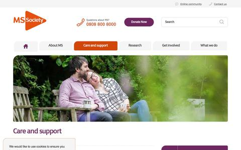 Screenshot of Support Page mssociety.org.uk - Care and support | Multiple Sclerosis Society UK - captured July 25, 2018