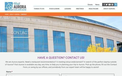 Screenshot of Contact Page visitaurora.com - Contact | Visit Aurora - captured Dec. 15, 2016