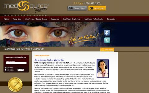Screenshot of About Page medsourcetravelers.com - Nurse Staffing Agency | Nurse Staffing Agencies | MedSource Travelers - captured Oct. 27, 2014