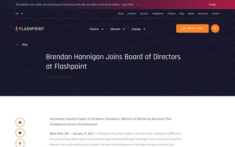 Screenshot of Press Page flashpoint-intel.com - Flashpoint - Brendan Hannigan Joins Board of Directors at Flashpoint - captured Nov. 12, 2019