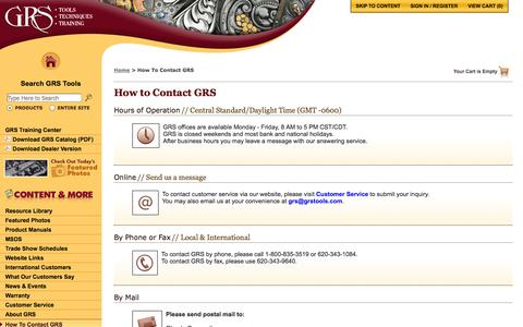Screenshot of Contact Page grstools.com - How To Contact GRS :: GRS Hand Engraving Tools & Training - captured Oct. 1, 2014