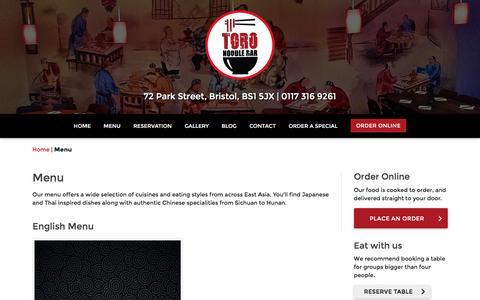 Screenshot of Menu Page toronoodlebar.co.uk - Menu | Toro Noodle Bar - captured June 19, 2017