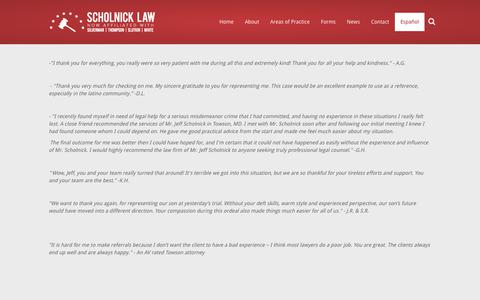 Screenshot of Testimonials Page scholnicklaw.com - Testimonials  | Scholnick Law - captured Oct. 18, 2018