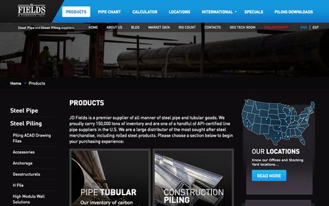 Screenshot of Products Page jdfields.com - Steel Pipe, Rolled Steel Products, Line Pipe, Tubular Goods Suppliers - captured Oct. 1, 2014