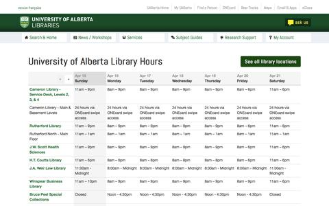 Screenshot of Hours Page ualberta.ca - Hours - UofA Libraries - captured April 16, 2018