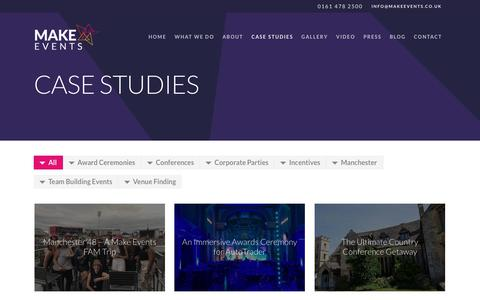 Screenshot of Case Studies Page makeevents.co.uk - Make Events | Full Service Event Management | Case Studies - captured Oct. 1, 2018
