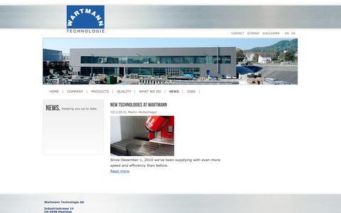 Screenshot of Press Page wartmann-technology.com - Wartmann Technologie AG - News. Keeping you up to date - captured Oct. 7, 2014