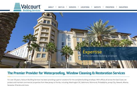 Screenshot of Home Page valcourt.net - Valcourt Building Services - captured Sept. 19, 2015