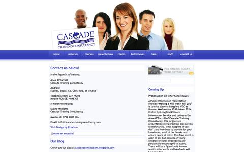 Screenshot of Contact Page cascadetrainingconsultancy.com - Cascade Training Consultancy Ireland - Educational Courses on Communication,Law, Management - captured Sept. 29, 2014