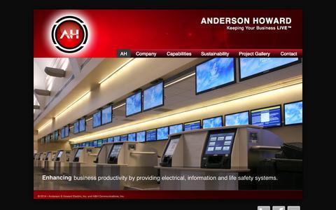 Screenshot of Home Page aandh.com - Anderson Howard - captured Oct. 4, 2014