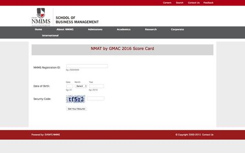 Screenshot of Login Page nmims.edu - NMAT by GMAC 2016 - captured Jan. 22, 2016