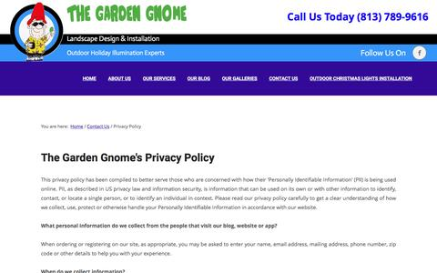 Screenshot of Privacy Page thegardengnome.net - Privacy Policy - The Garden Gnome - captured Nov. 30, 2016