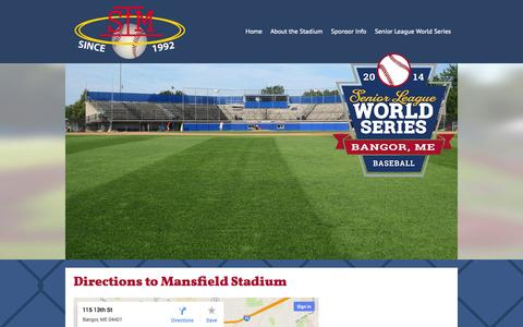 Screenshot of Maps & Directions Page mansfieldstadium.com - Shawn T. Mansfield Stadium - Bangor, Maine - The official home of the Senior League World Series - captured Oct. 27, 2014