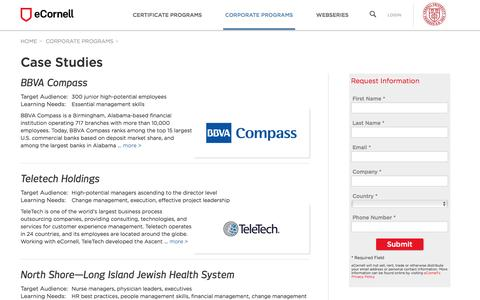 Screenshot of Case Studies Page ecornell.com - Case Studies   eCornell - captured July 18, 2016