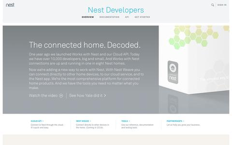 Screenshot of Developers Page nest.com - Home | Nest Developers - captured April 21, 2016