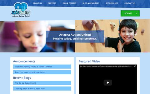 Screenshot of Home Page azaunited.org - Arizona Autism United - captured Sept. 11, 2015