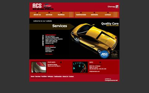 Screenshot of Services Page miamiacs.com - Miami Auto Body Shop, collision repair shop and Miami car paint services. - captured Oct. 4, 2014