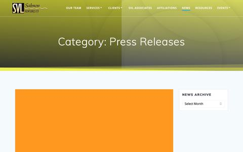 Screenshot of Press Page salmonventures.com - Press Releases Archives - Salmon Ventures, Ltd. - captured Oct. 2, 2018