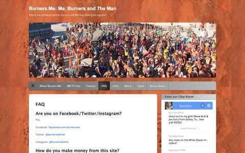 Screenshot of FAQ Page burners.me - FAQ   Burners.Me: Me, Burners and The Man - captured Sept. 2, 2016