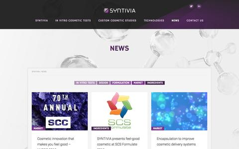 Screenshot of Press Page syntivia.fr - Latest news from Syntivia's hi-tech cosmetic experts - captured Jan. 13, 2016