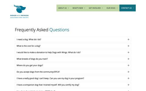 Screenshot of FAQ Page dogswithwings.ca - FAQ - Dogs with Wings - captured Oct. 9, 2018