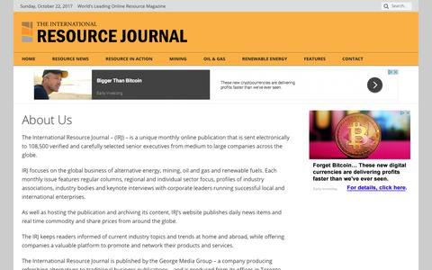 Screenshot of About Page internationalresourcejournal.com - About Us - The International Resource Journal - captured Oct. 22, 2017