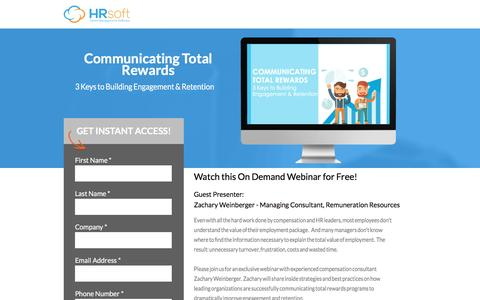 Screenshot of Landing Page hrsoft.com - Communicating Total Rewards - captured Sept. 6, 2016