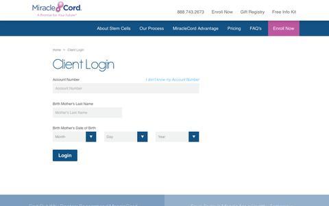 Screenshot of Login Page miraclecord.com - Client Login > MiracleCord - captured Nov. 1, 2017