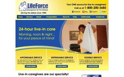 Screenshot of Home Page lifeforceeldercare.com - Live-in Senior Care | Life Force Caregivers for the Elderly - captured Jan. 29, 2016