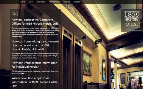Screenshot of FAQ Page 1859historichotels.com - FAQ - captured Oct. 1, 2014