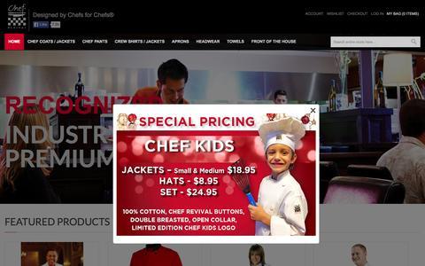 Screenshot of Home Page chefrevival.com - Chef Revival: Professional chef uniforms & clothing - captured Dec. 8, 2015