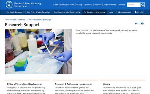 Screenshot of Support Page mskcc.org - Research Support | Memorial Sloan Kettering Cancer Center - captured Dec. 12, 2019