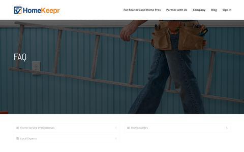 Screenshot of FAQ Page homekeepr.com - FAQ - HomeKeepr - captured July 8, 2018