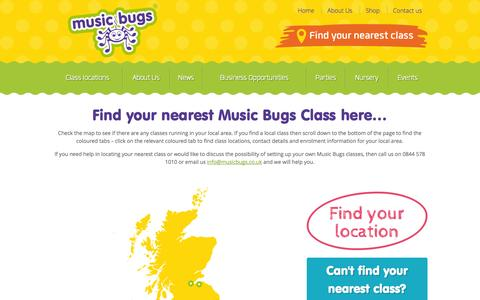 Screenshot of Locations Page musicbugs.co.uk - Class locations - Music Bugs activity classes for toddlers and preschoolers - captured Oct. 9, 2014
