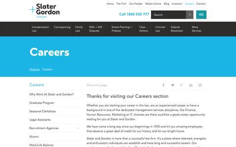 Screenshot of Jobs Page slatergordon.com.au - Careers | Slater and Gordon - captured Oct. 27, 2015